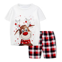 KidsHoo Exclusive Design Toddler Kids Boys and Girls Christmas Pajamas Sets Cute White Christmas Deer T-shirt and Red Plaids Short Pants