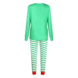 Christmas Family Matching Sleepwear Pajamas Sets ELF Slogan Christmas Hat Top and Green Stripes Pants