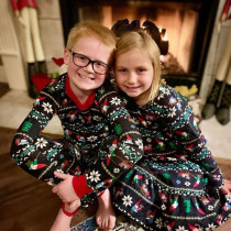 Toddler Kids Boys and Girls Christmas Pajamas Sets Dark Blue Gnome Santa Claus Trees Snow Top and Pants