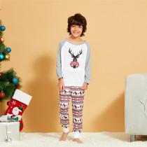 Toddler Kids Boys and Girls Christmas Pajamas Sets Grey Deers Top and Stripe Pants