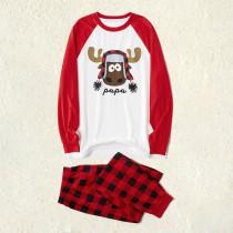 Toddler Kids Boys and Girls Christmas Pajamas Sets Red Elk Tops and Plaid Pants