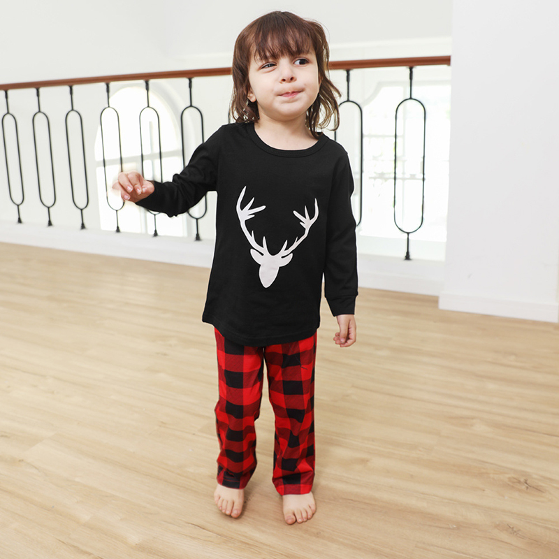 Toddler Kids Boys and Girls Christmas Pajamas Sets White Deer Head and Plaid Pants