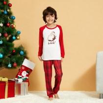 Toddler Kids Boys and Girls Christmas Pajamas Sets Hohoho Santa Claus Top and Red Plaids Pants