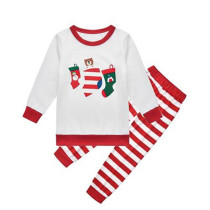 Toddler Kids Boys and Girls Christmas Pajamas Sets Stocking Bear White Top and Red Stripes Pants