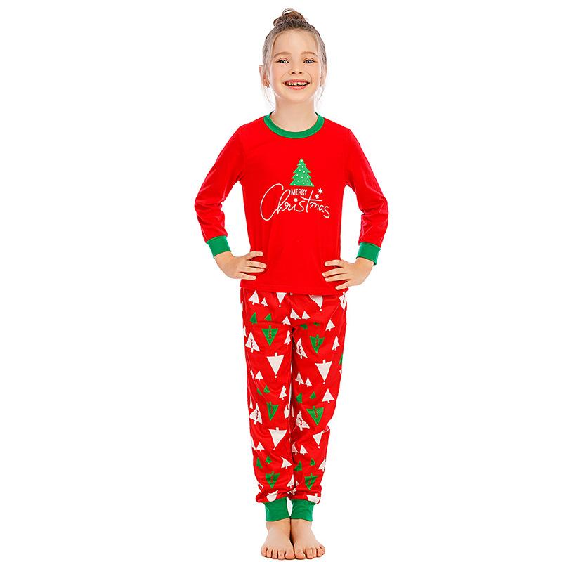 Toddler Kids Boys and Girls Christmas Pajamas Sets Red Trees Top and Pants