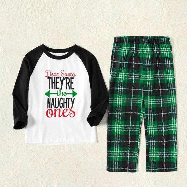Toddler Kids Boys and Girls Christmas Pajamas Sets White Printing Letter Top and Green Plaid Pants