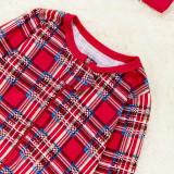 Christmas Family Matching Pajamas Christmas Red Top and Plaids Pant