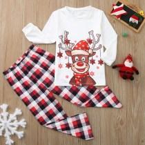 Toddler Kids Boys and Girls Christmas Pajamas Sets Deers Plaid Snow Top and Red Pants