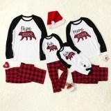 Toddler Kids Boys and Girls Christmas Pajamas Sets White Papa Mama Bear Top and Red Plaid Pants