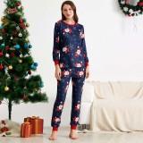 Christmas Family Matching Sleepwear Pajamas Sets Navy Prints Santa Claus Snow Top and  Pants