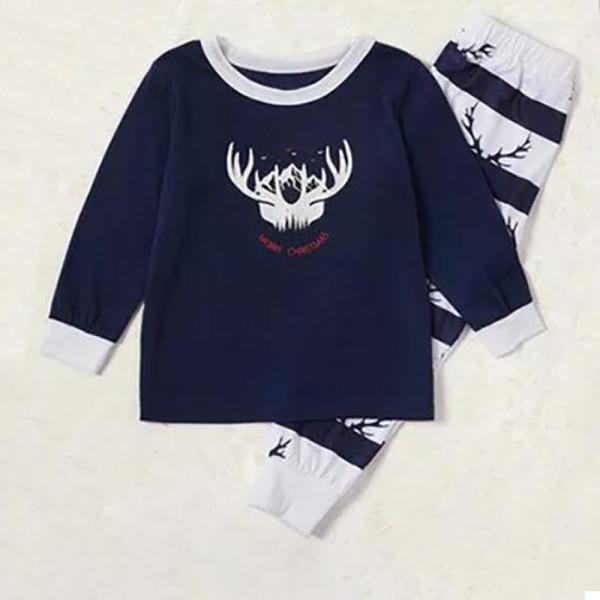 Toddler Kids Boys and Girls Christmas Pajamas Sets Deer Horn Top and Blue Stripes Pants