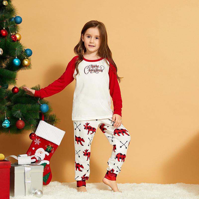 Toddler Kids Boys and Girls Christmas Pajamas Sets White Merry Christmas Top and Prints Deer Pants