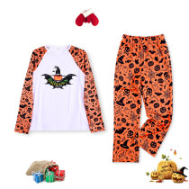 Toddler Kids Boys and Girls Christmas Pajamas Sets Pumpkin Black Bat Luminous Effect Tops and Bat Pants