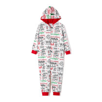 Toddler Kids Boys and Girls Christmas Pajamas Sets Onesie Pajamas Santa Claus Slogans Letters Hooded Jumpsuit