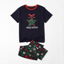 Toddler Kids Boys and Girls Christmas Pajamas Sets Snowflake Star Bowknot Top and Deers Trees Pants