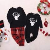 Toddler Kids Boys and Girls Christmas Pajamas Sets Black Deers Top and Red Plaids Pants