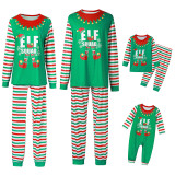 Toddler Kids Boys and Girls Christmas Pajamas Sets Green ELF SQUAD Top and Red Stripes Pants