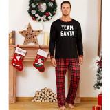 Toddler Kids Boys and Girls Christmas Pajamas Sets Slogan Team Santa Top and Plaids Pants