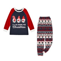 KidsHoo Exclusive Design Baby Toddler Boys Girls Christmas Sleepwear Pajamas Sets Gnome Slogan Tops And Deer Printed Stripe Pants