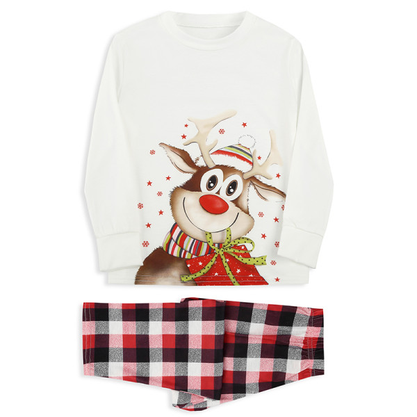 KidsHoo Exclusive Design Baby Toddler Kids Boys and Girls Christmas Pajamas Sets Christmas Deer Gift Top and Plaids Pants