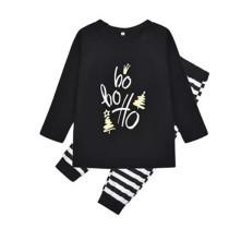 Toddler Kids Boys and Girls Christmas Pajamas Sets Black Slogan Hohoho Top and Stripes Pants