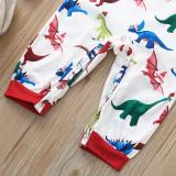 Christmas Family Matching Sleepwear Pajamas Sets Green Dinosaurs Hohoho Slogan Sets