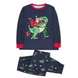 KidsHoo Exclusive Design Navy Santa Claus Dinosaurs Christmas Pajamas Sets For Baby Toddler Kids Boys and Girls