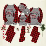 KidsHoo Exclusive Design Christmas Family Matching Sleepwear Pajamas Sets Most Wonderful Time Slogan Tops And Plaids Pants