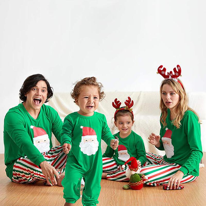 Toddler Kids Boys and Girls Christmas Pajamas Sets Green Santa Claus Top and Red Green Stripes Pants