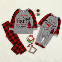 KidsHoo Exclusive Design Baby Toddler Boys Girls Christmas Sleepwear Pajamas Sets Most Wonderful Time Slogan Tops And Plaids Pants
