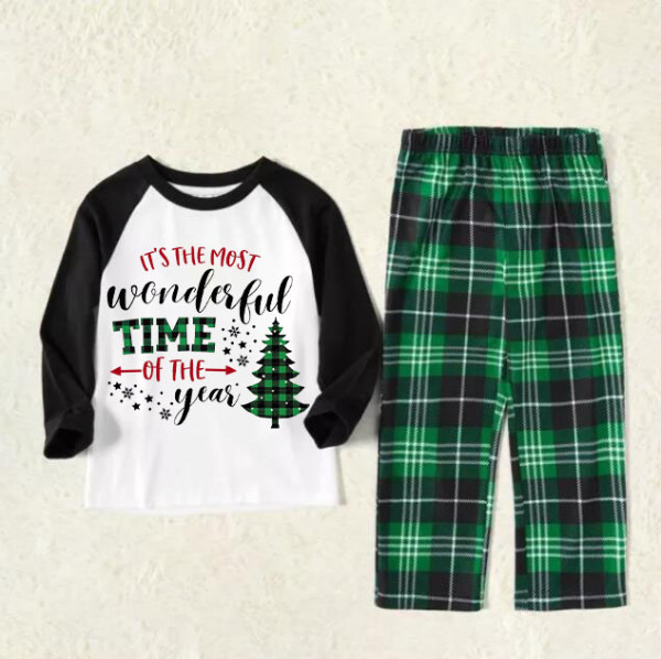 KidsHoo Exclusive Design Baby Toddler Boys Girls Christmas Sleepwear Pajamas Sets Most Wonderful Time Slogan Trees Tops And Green Plaids Pants