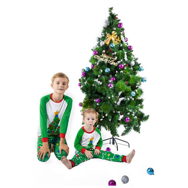 Toddler Kids Boys and Girls Christmas Pajamas Sets Green Christmas Trees Top and Pants
