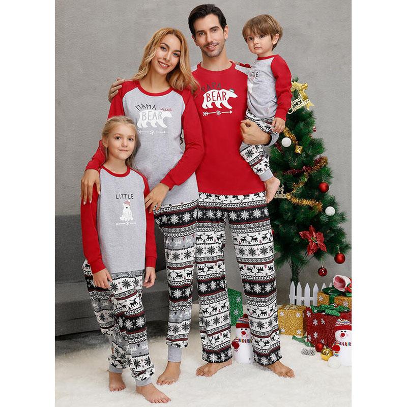 Toddler Kids Boys and Girls Christmas Pajamas Sets Red Deers Top and Gray Beers snowflake Pants