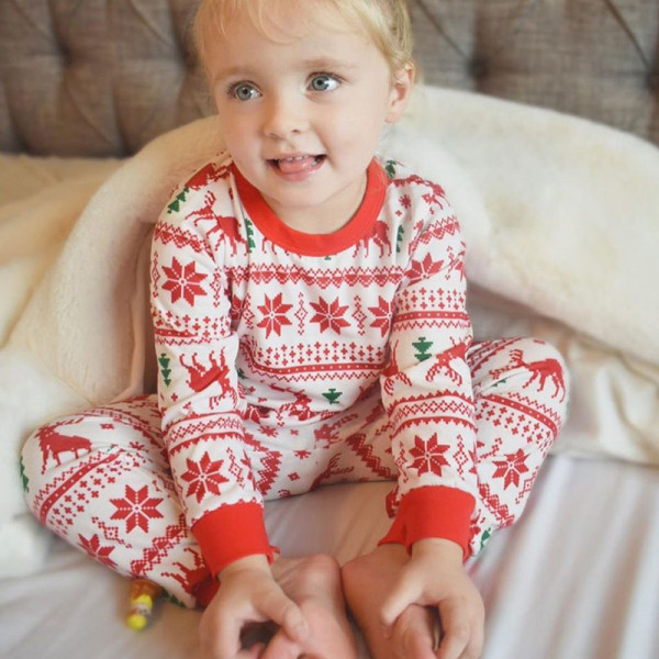 Baby Toddler Kids Boys and Girls Christmas Pajamas Sets Red Deers Trees Printing Stripes Sets