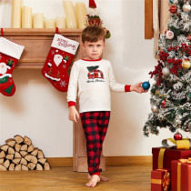 Toddler Kids Boys and Girls Christmas Pajamas Sets Red Plaids House White Top and Red Plaids Pants