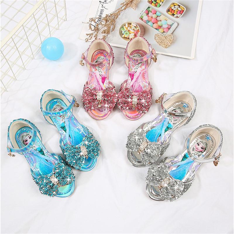 Toddler Girl Sequins Bowknot Peep Toe Frozen Princess Aisha Dress Shoes Sandals