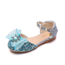 Toddler Girls Blue Jewelry Rhinestone Mesh Bowknot Sequins Pearls Dress Shoes Sandals