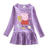 Toddler Girl Peppa Pig Print Pleated Long Sleeve Dress