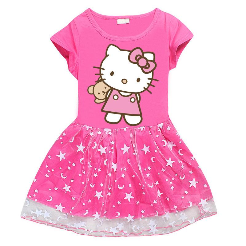 Toddler Girl Hello Kitty Bear Mesh Lace Short Sleeve Tutu Dress