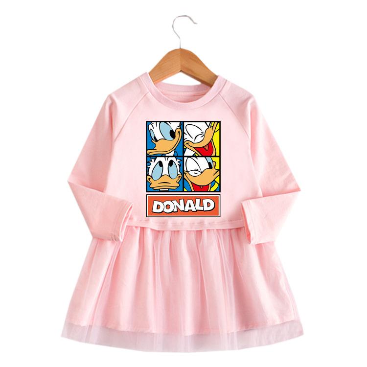 Toddler Girl Donald Duck A-line Long-Sleeved Mesh Dress
