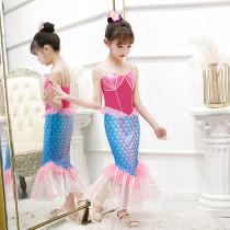 Toddler Kid Girls Halloween Cosplay Mermaid Princess Tutu Rose Pink Dress