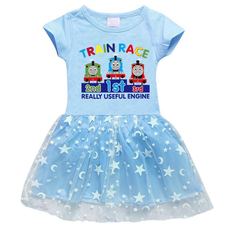 Toddler Girl Little Train Short Sleeve Princess Dress