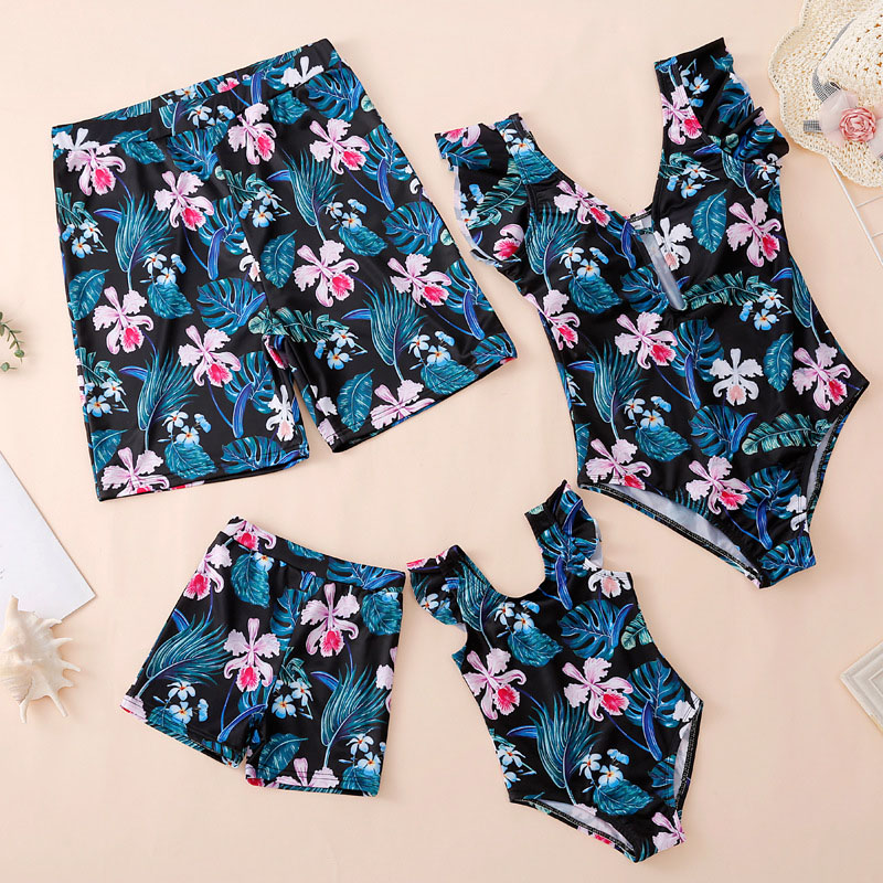 Matching Family Suit Flowers And Leaves Printing Family Parent-Child Swimsuit