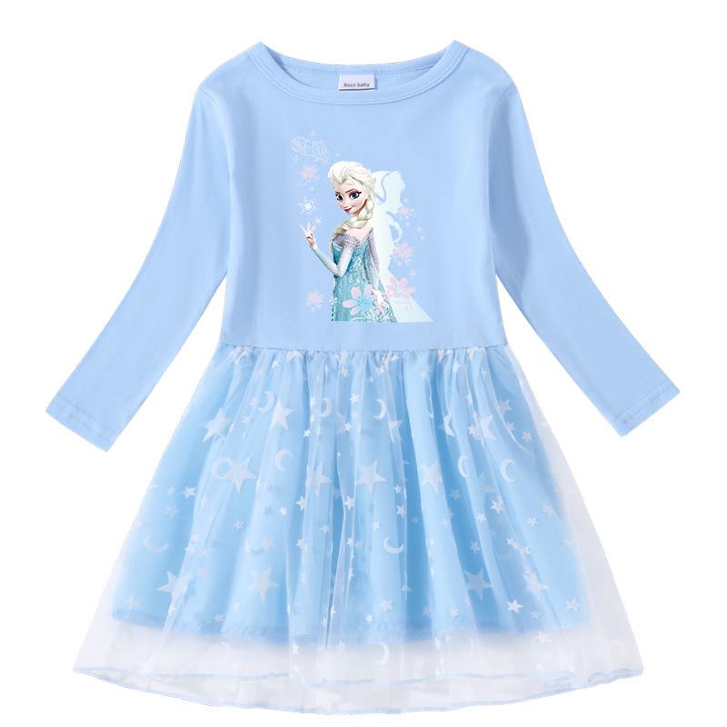 Toddler Girl Ice Princess Printed Mesh Long Sleeve Princess Dress