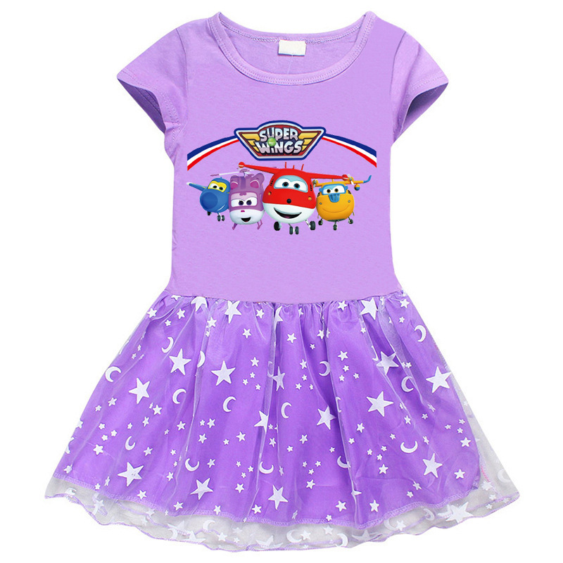 Toddler Girl Super Flying Man Mesh Lace Short Sleeve Tutu Dress