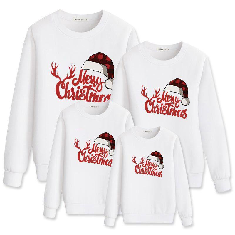 Christmas Matching Family Christmas Hat Antler Merry Christmas Family Sweatshirt Tops