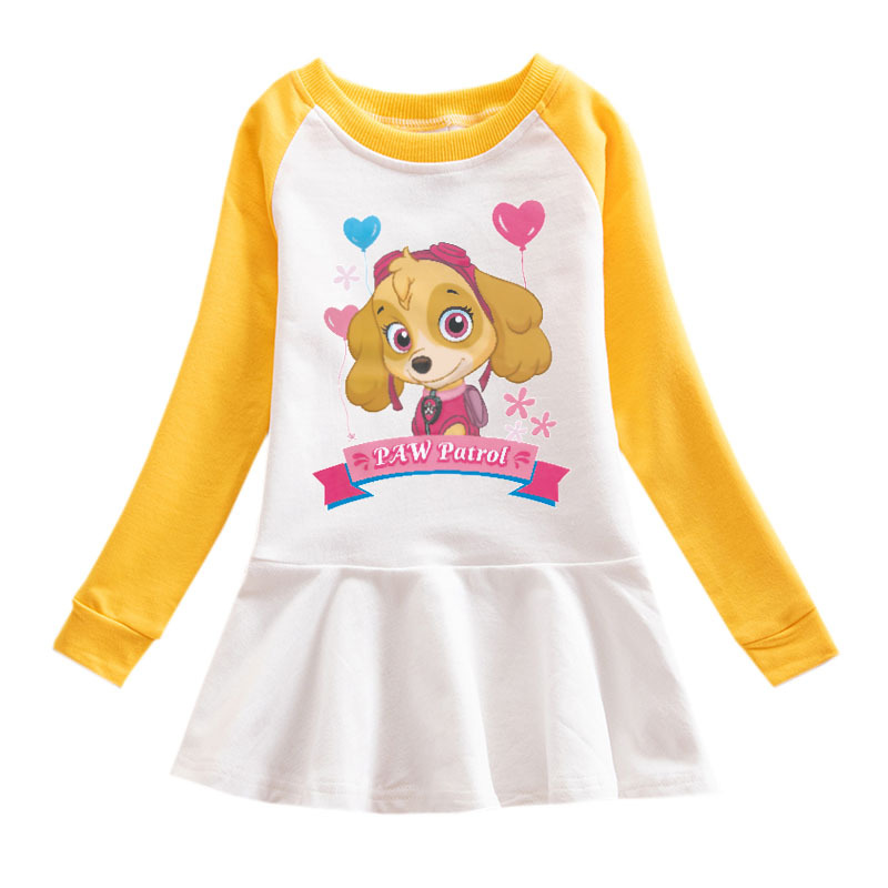 Toddler Girl Puppies Print Pleated Long Sleeve Dress