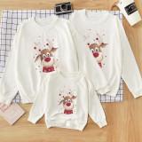 Christmas Matching Family White Cute Deer Snowflake Family Sweatshirt Tops