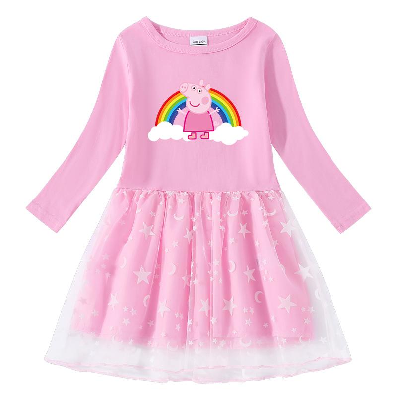 Toddler Girl Rainbow Peppa Pig Long Sleeve Tutu Dress