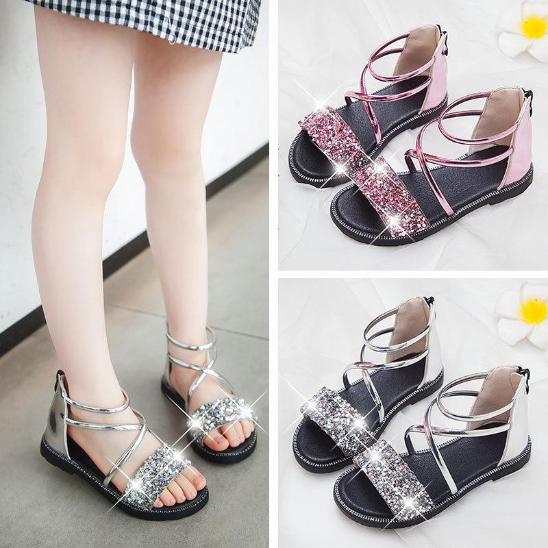 Toddler Girls Sequins Glitter Flat Sandals Shoes